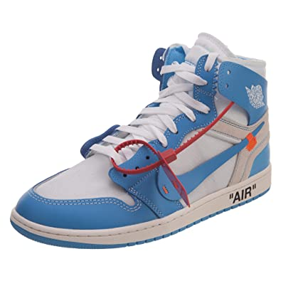 ffa062459c1fb7 NIKE Mens Air Jordan 1 X Off White NRG UNC White Dark Powder Blue Leather
