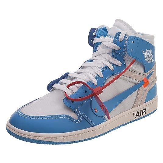 3ae5487c2f8 Amazon.com | NIKE Mens Air Jordan 1 X Off White NRG UNC White/Dark Powder  Blue Leather Size 6 | Basketball