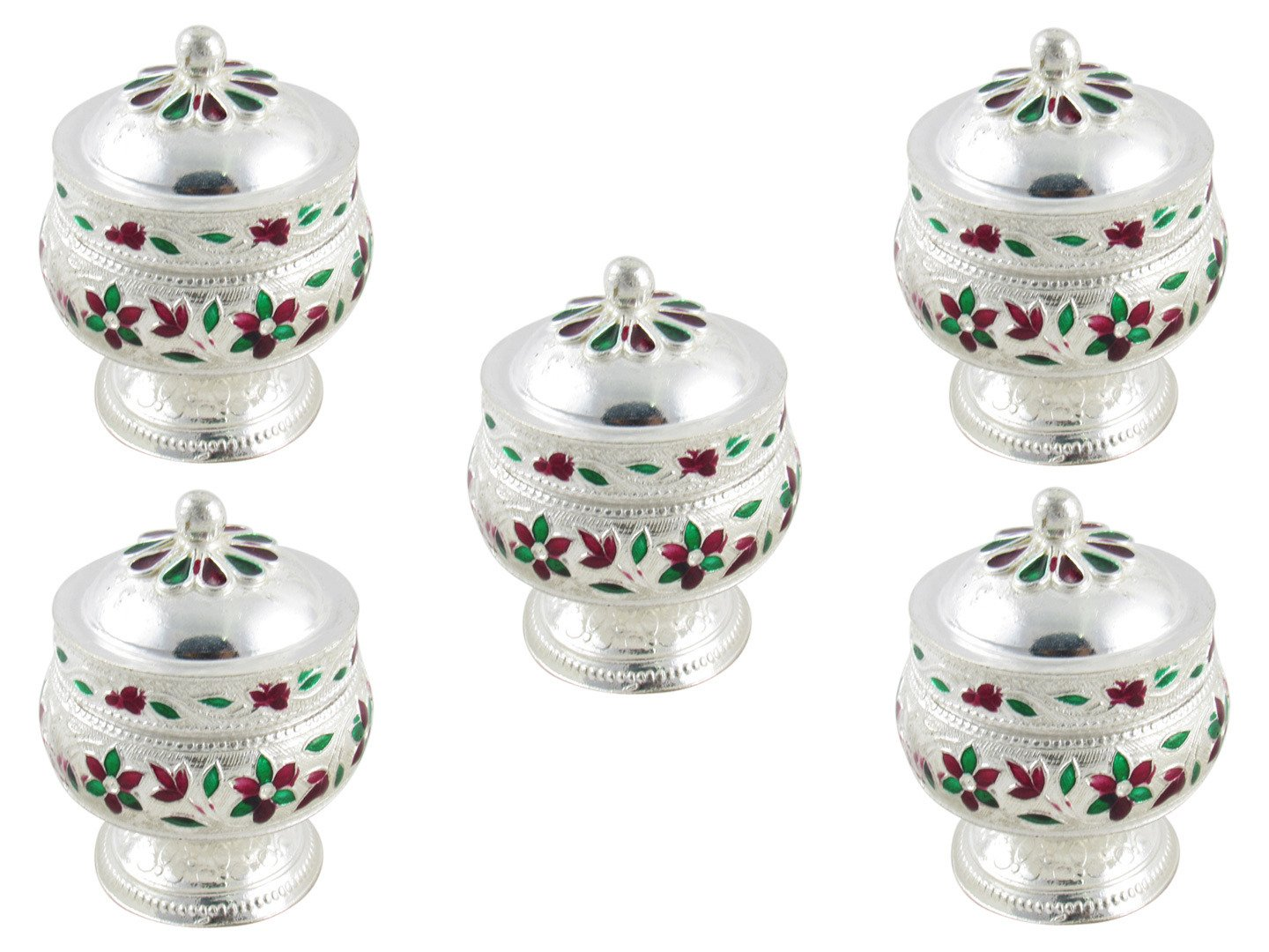 GoldGiftIdeas German Silver Sindoor Dabbi Set, Silver Plated Pooja Items for Home, Return Gift for Wedding and Housewarming with Designer Potli Bags (Pack of 5) GGIPITSA - 116