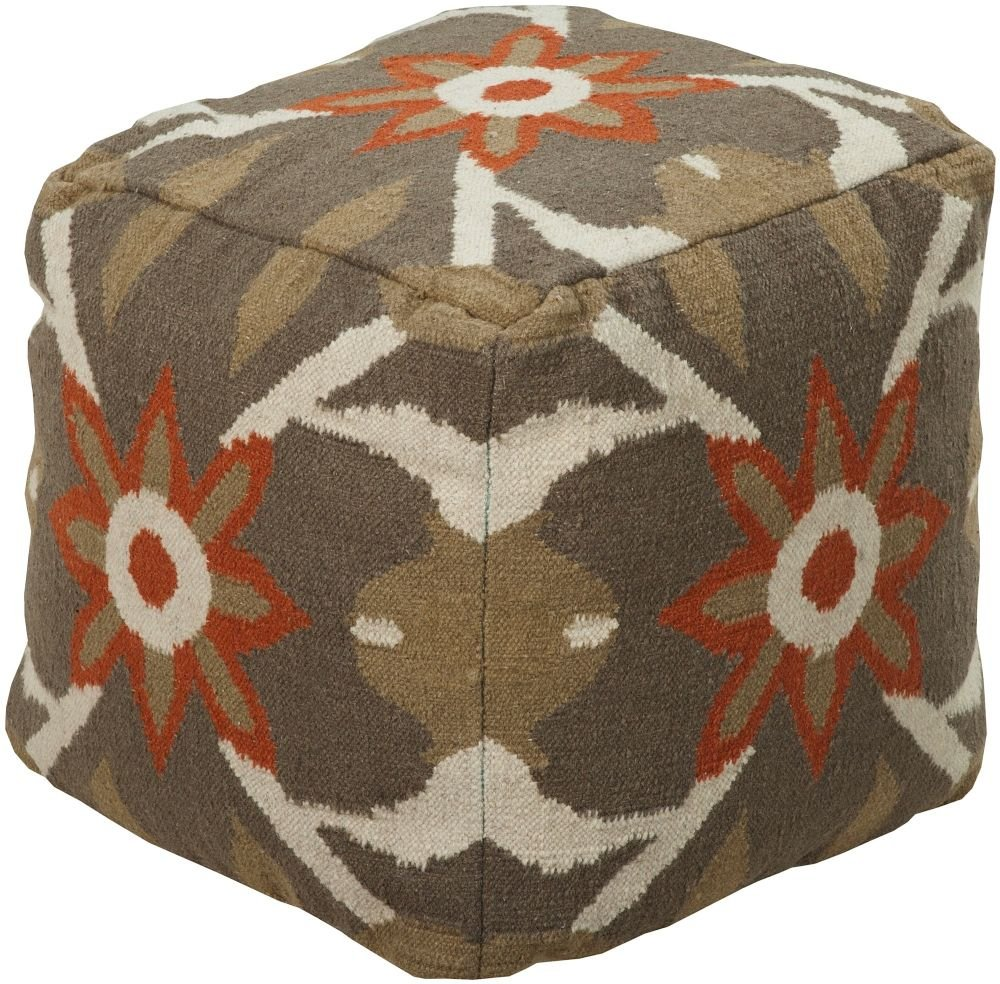 Surya Contemporary Square pouf/ottoman 18''x18''x18'' in Multi Color From Surya Poufs Collection
