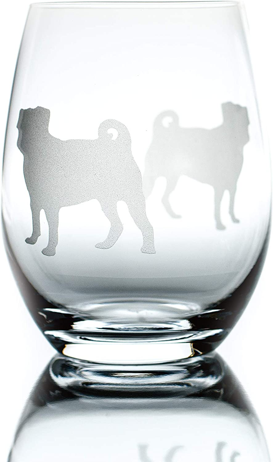 Amazon Com Pug Stemless Wine Glass One Glass Unique Gift For Dog Lovers Hand Etched With Breed Name On Bottom Wine Glasses