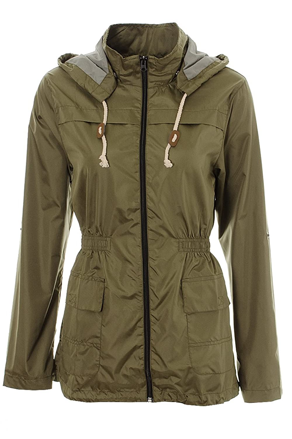 Womens Lightweight Rain Mac Coat Fishtail Khaki Navy Ladies ...