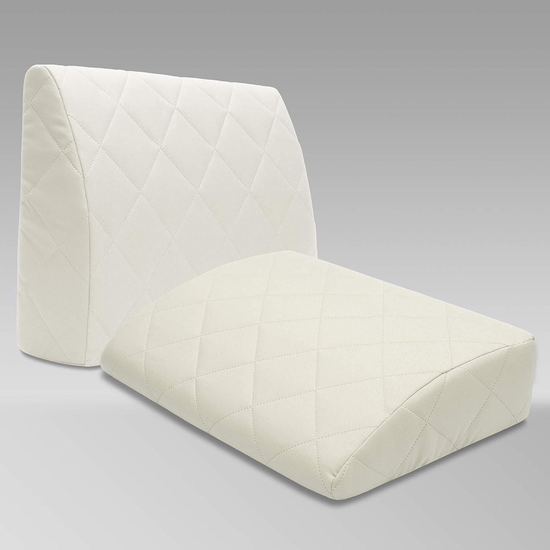 Selfitex Rückenkissen für für für Bett, Rückenlehne für Sofa, Lesekissen, für Lounge- oder Palettenmöbel, Länge 60 cm, Höhe 45 cm, Made in Germany (2er Set weiß) (2) 126d75