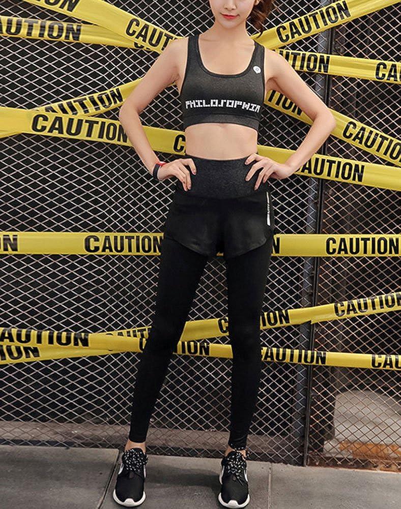 Zetiy Donna 5 Pezzi Abbigliamento sportivo Fitness Yoga Jogging Tute da Ginnastica