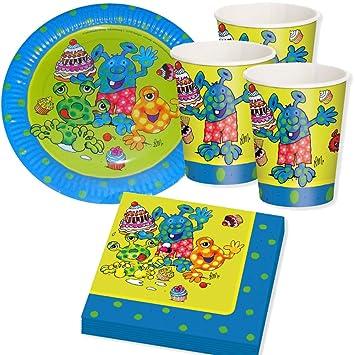 piezas set de fiesta monster con platos vasos y servilletas de papel para