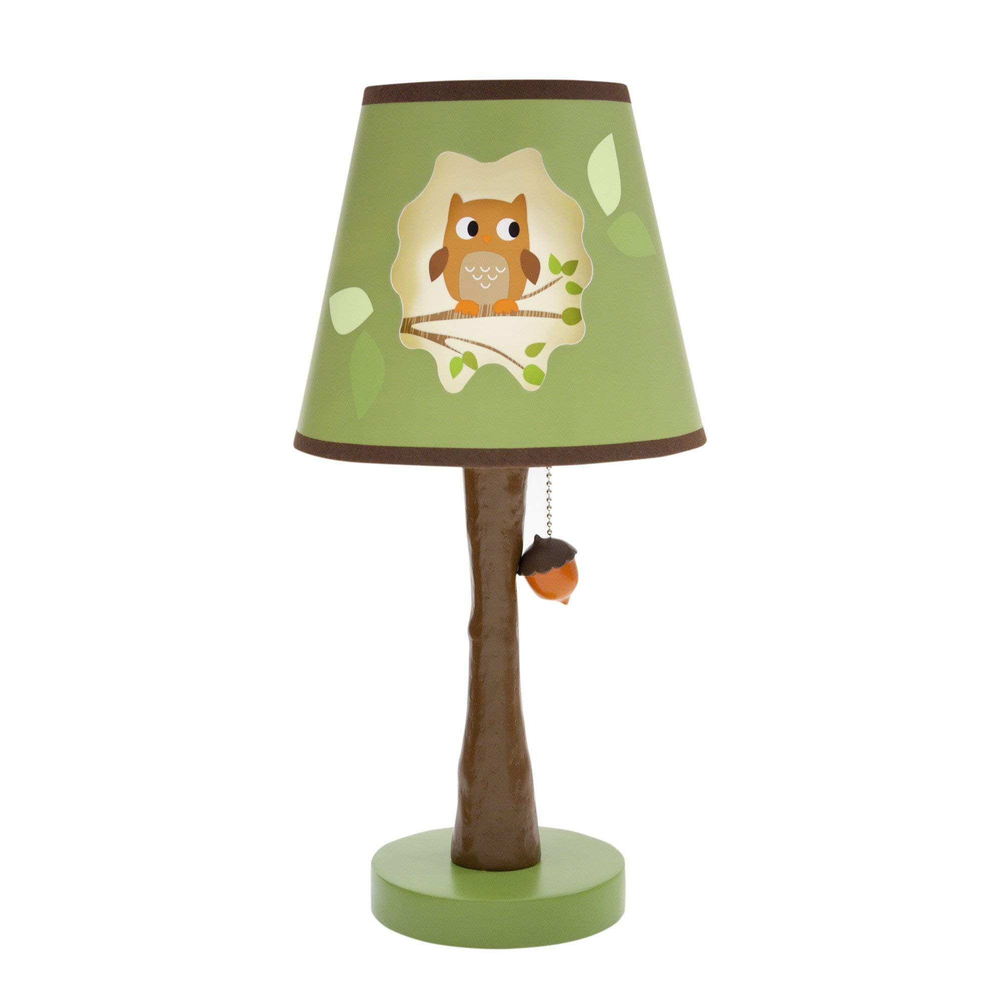 Lambs & Ivy Woodland Tales Lamp with Shade & Bulb - Brown, Green, Woodland, Owl