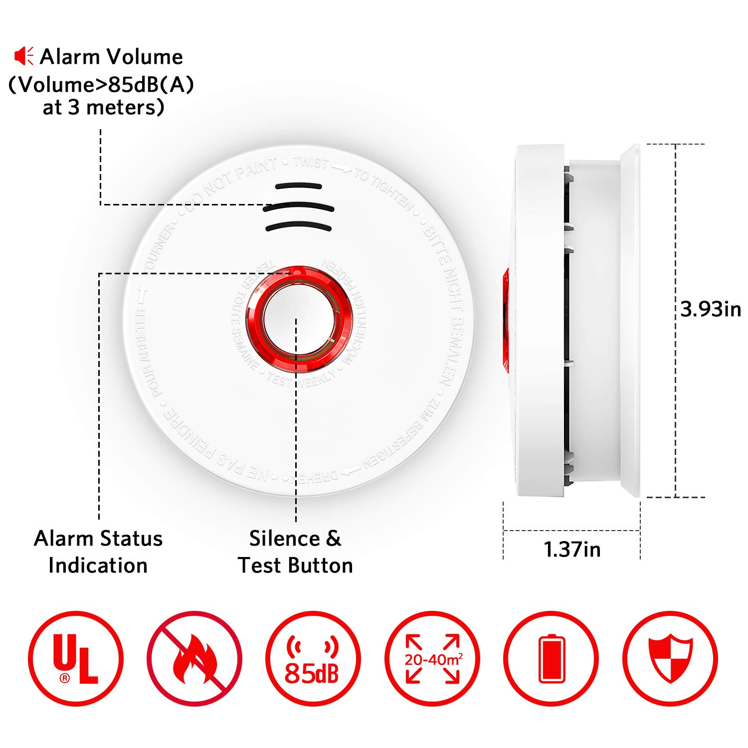 3 Pack Photoelectric Smoke Detector, Smoke and Fire Alarm, DC 9V Battery Operated Included with Test Button 85 Decibels Sound Alarm and Red LED Indicator UL Listed 10 Years Safety