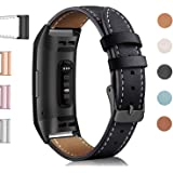 Hotodeal Band Compatible Fitbit Charge 3 Charge 3 SE, Classic Replacement Genuine Leather Bands Metal Connectors Women Men Small Large Size Silver, Rose Gold, Black