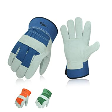 Vgo 3 Pairs Cow Split Leather Men's Work Gloves with Safety Cuff (Size L,Blue+Orange+Green,CB3501)