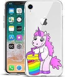 Girlscases® | iPhone XR Hülle | Einhorn trinkt Regenbogensaft | Transparente Schutzhülle mit Einhorn Regenbogen Unicorn Motiv | Aus TPU Silikon