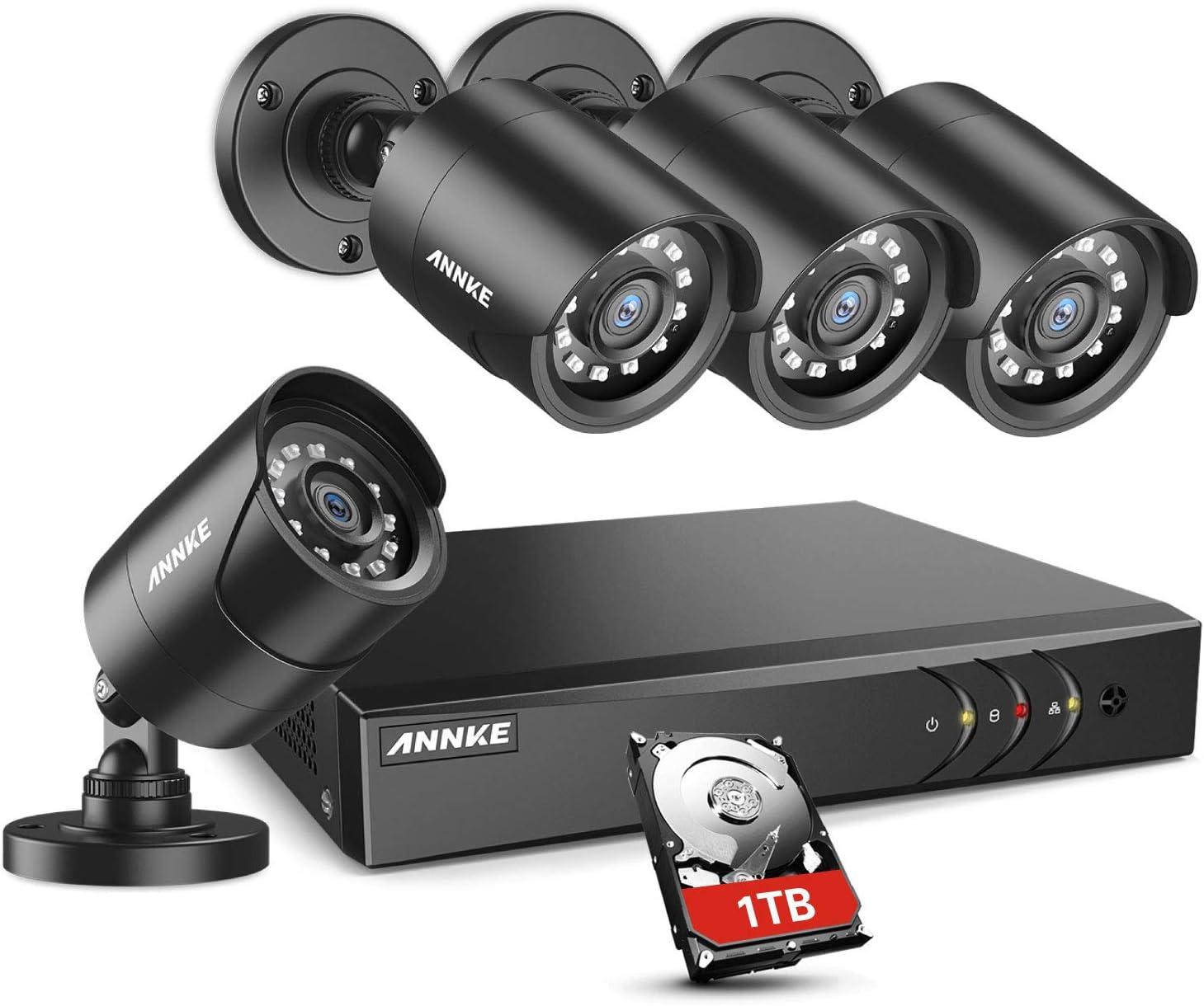 Alarma Visual ANNKE Sistema de Seguridad 5MP H.265 Pro+ DVR de Vigilancia con 2TB Disco Duro 4Pcs 5MP PIR C/ámaras de Videovigilancia IP67 Resistente al Agua 2TB HDD Visi/ón Nocturna de 100 Pies