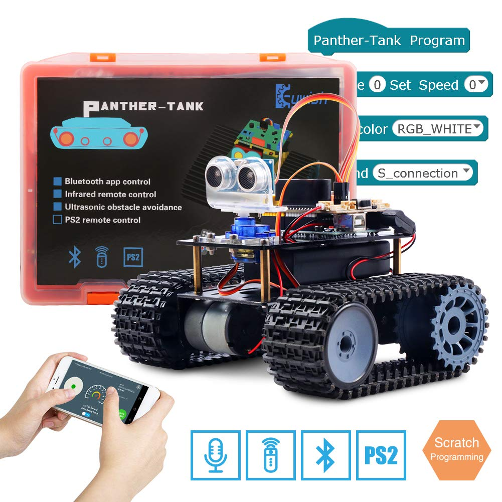 Keywish Panther-Tank Robot for Arduino UNO Project Smart Car Kit with  Tutorial,Uno R3 Board,Line Tracking Module, Ultrasonic Sensor,Bluetooth
