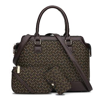 recoco 3pc Set oficina dama mujer mango bolsos grandes de hombro cruzado mochila bolso de lugar de trabajo , black: Amazon.es: Equipaje