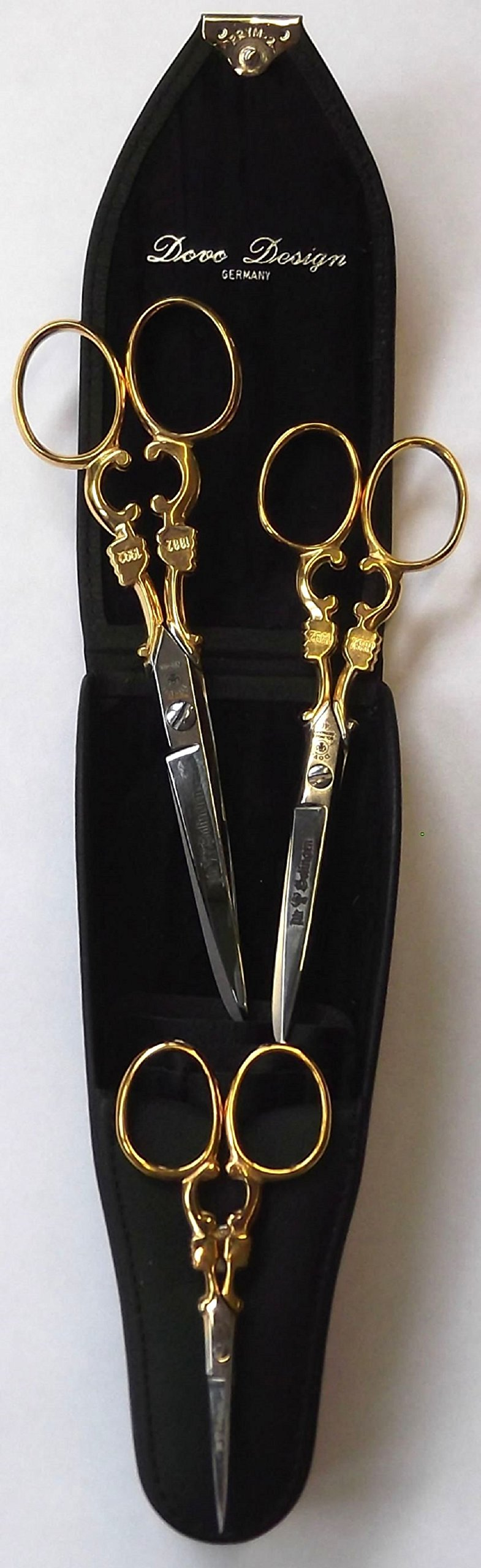 Dovo Scissor Set 3 pc. with Black Leather Case. Gold Plated 3-1/2'', 5'', 6''