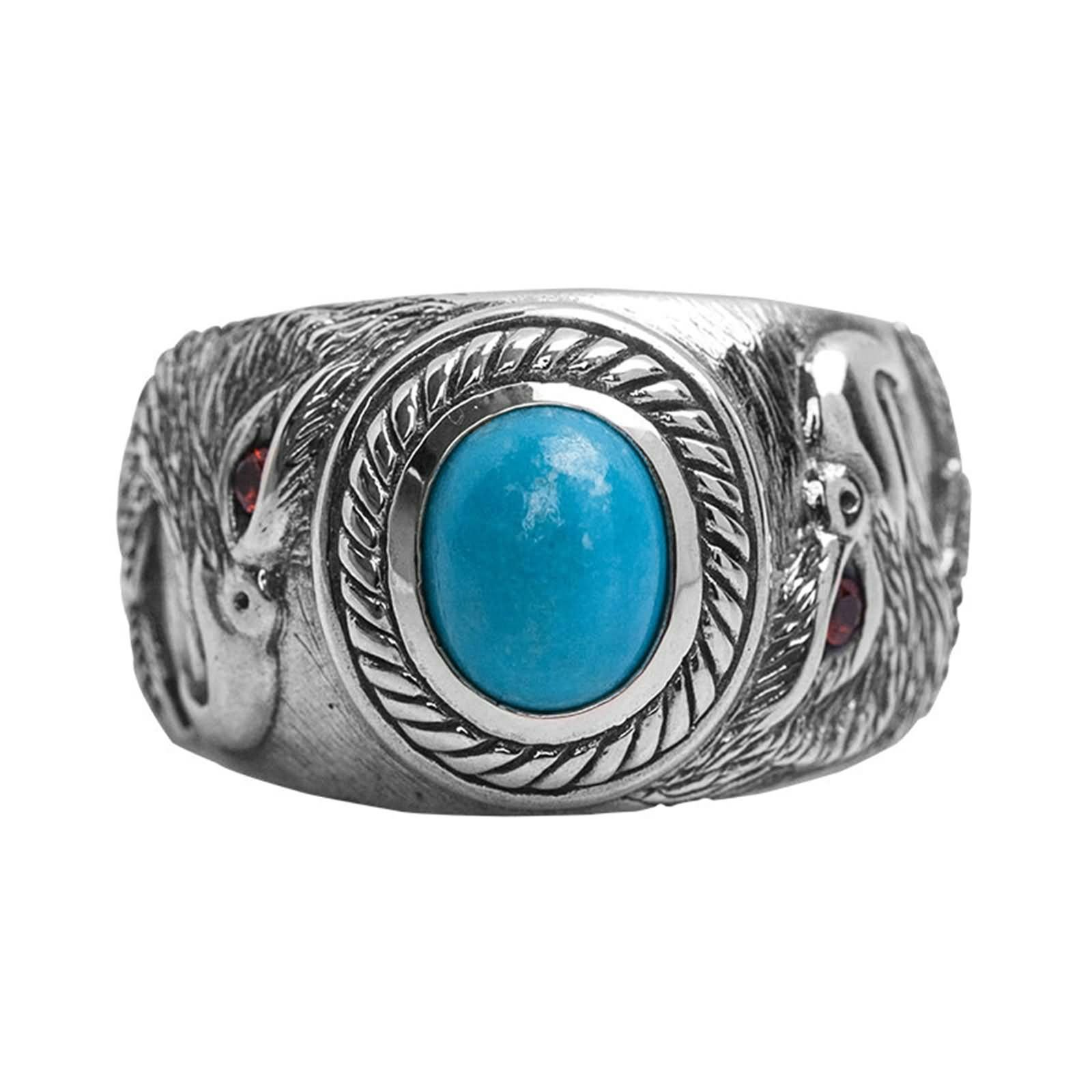 Bishilin Men's Ring Silver Plated with Red Eye Eagle Turquoise Partner Rings Silver Size 8