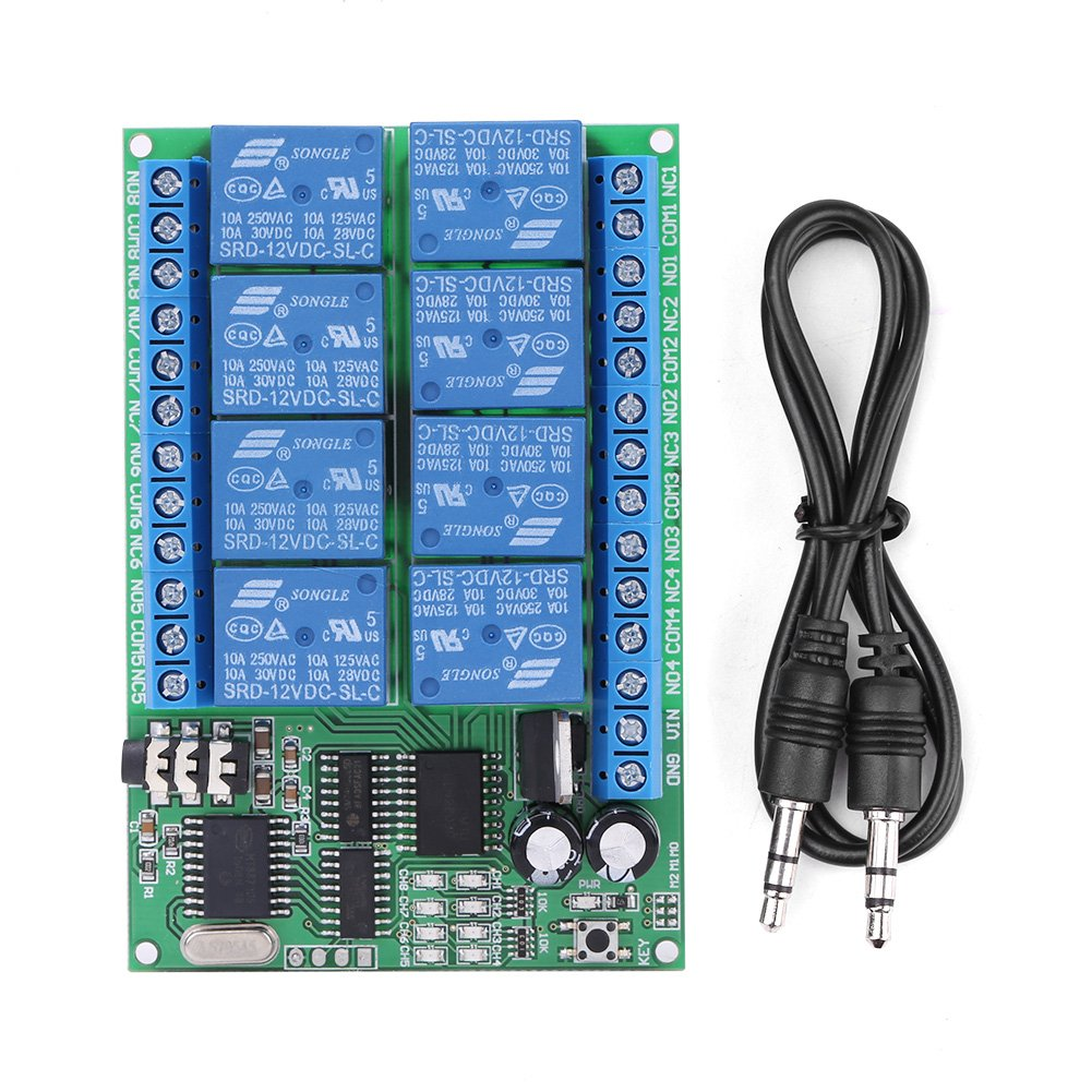 Hilitand AD22A08 DC 12V 8CH DTMF Relay Phone Voice Signal Decoder Remote Controller Switch Module by Hilitand