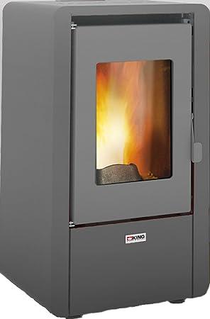 Piushopping: estufa de pellets King de 6,4 kW de acero para habitaciones de 50 m², apta para casas y apartamentos Dimensioni:cm. 43x43x76h gris: Amazon.es: ...