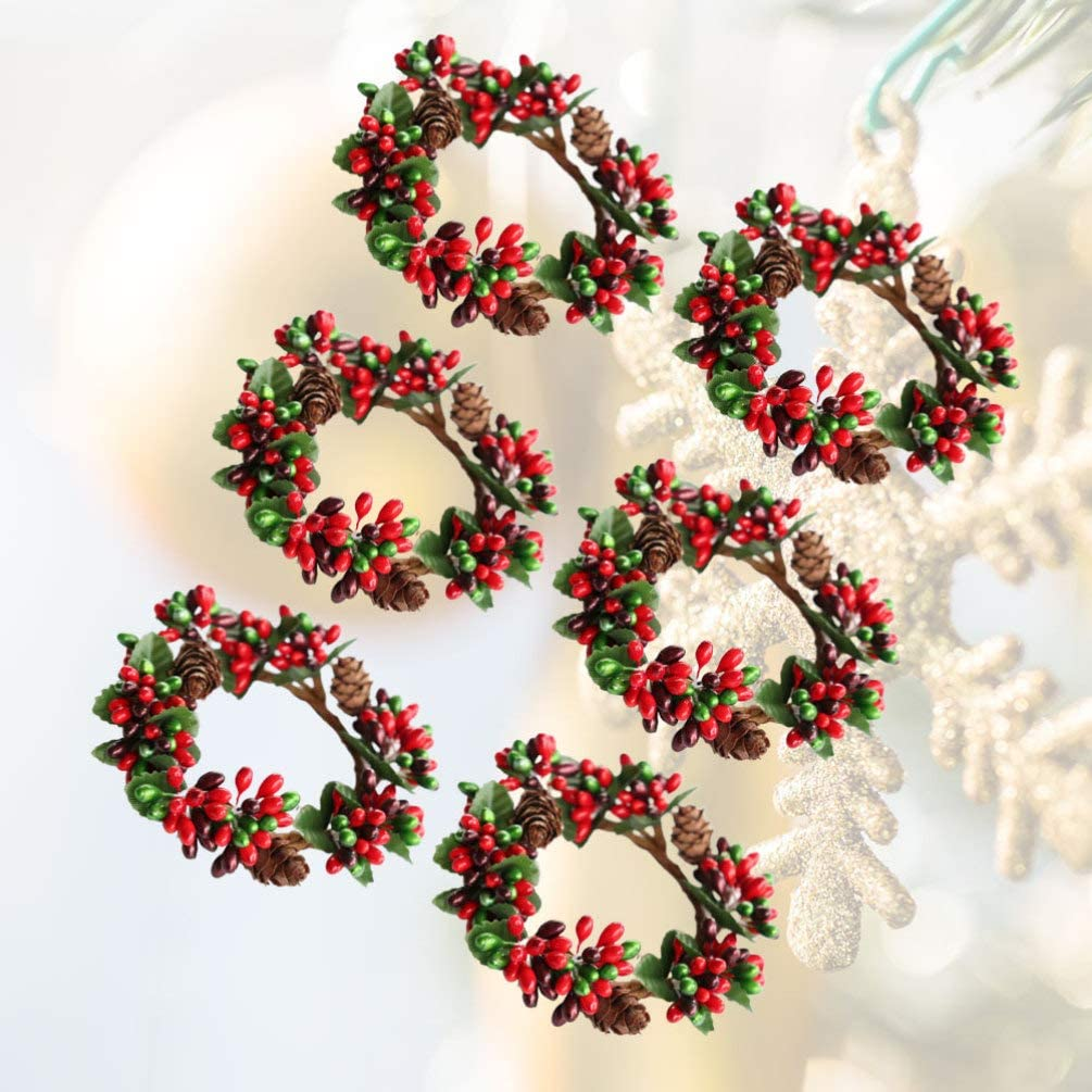 anelli per feste Halloween Picture 2 Natale matrimoni Amosfun Taglia 1 plastica ornamenti natalizi a forma di foglia di t/è anello portacandele portatovaglioli 6 pezzi