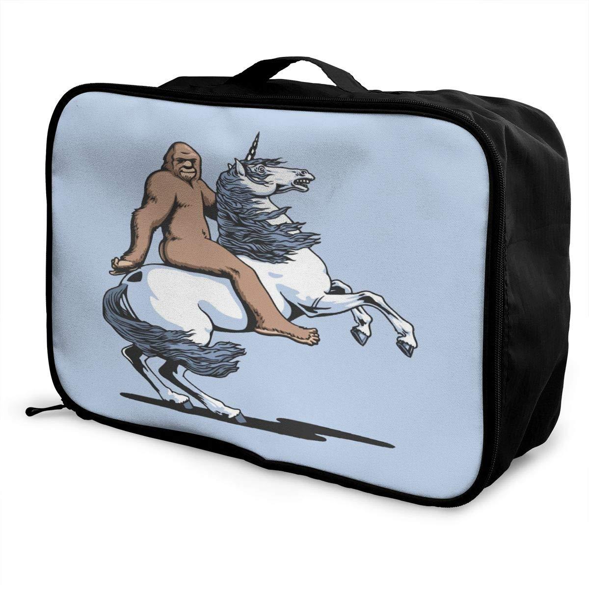 Sasquatch Bigfoot Riding Unicorn Travel Lightweight Waterproof Folding Storage Portable Luggage Duffle Tote Bag Large Capacity In Trolley Handle Bags 6x11x15 Inch