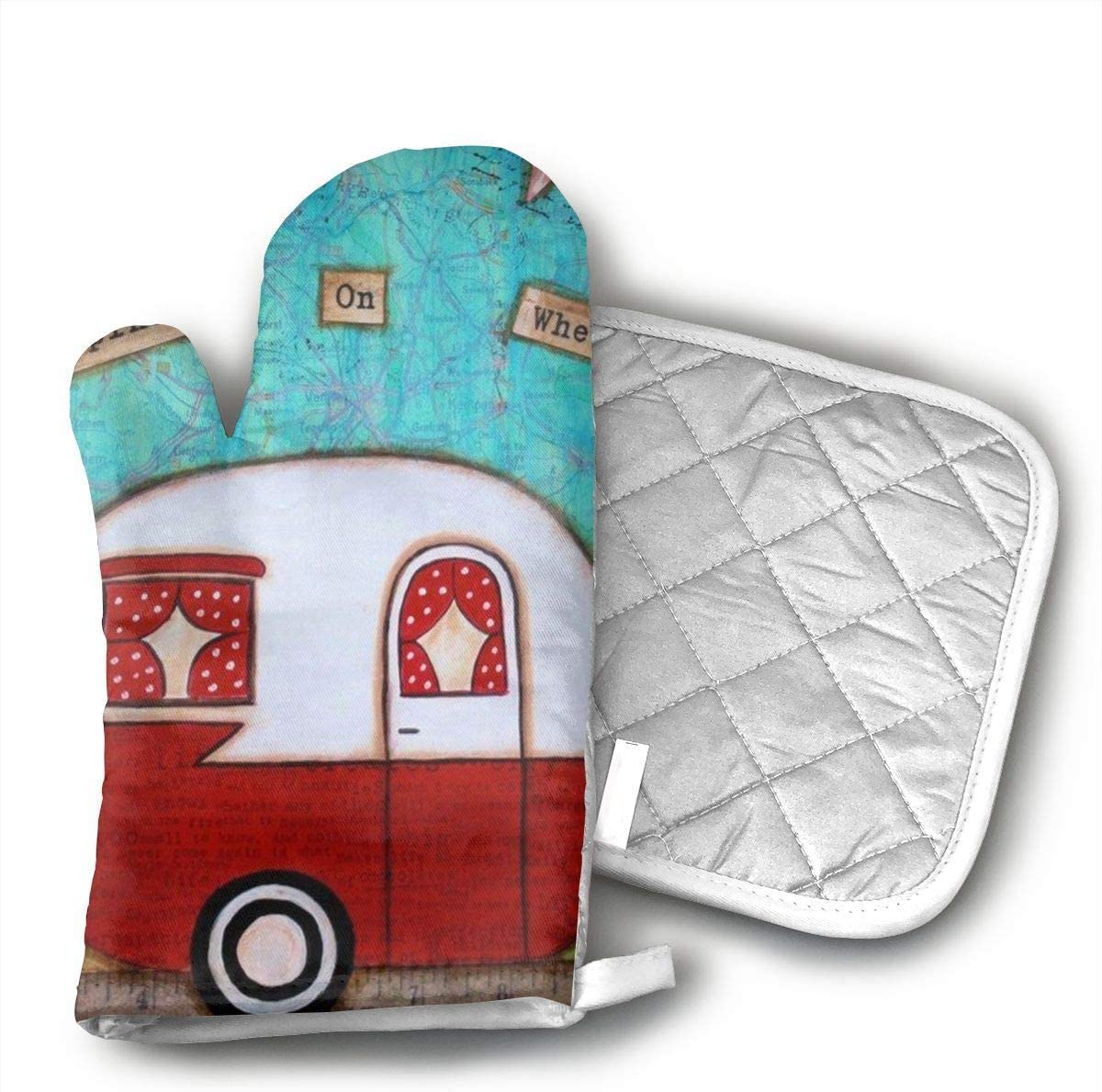 Vintage Camper Oven Mitts and Pot Holders Set with Polyester Cotton Non-Slip Grip, Heat Resistant, Oven Gloves for BBQ Cooking Baking, Grilling