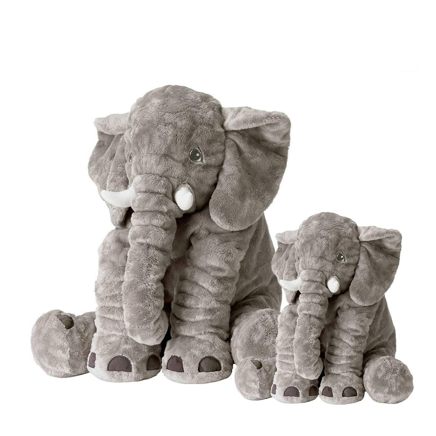 Amazon Com Soft Elephant Plush Toys Set Of 2 Toys Large 24 Small