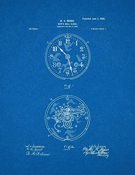 Amazon ships bell clock patent print art poster blueprint 20 ships bell clock patent print art poster blueprint 20quot malvernweather Gallery