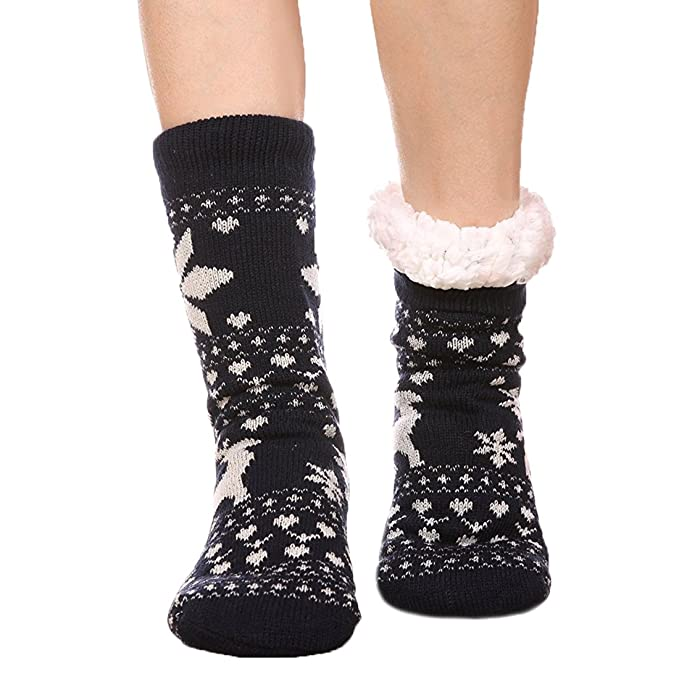 FRALOSHA Mujer Invierno Calcetines Además de cachemira Mantener caliente Calcetines femeninos Engrosamiento Antideslizante Calcetines de invierno