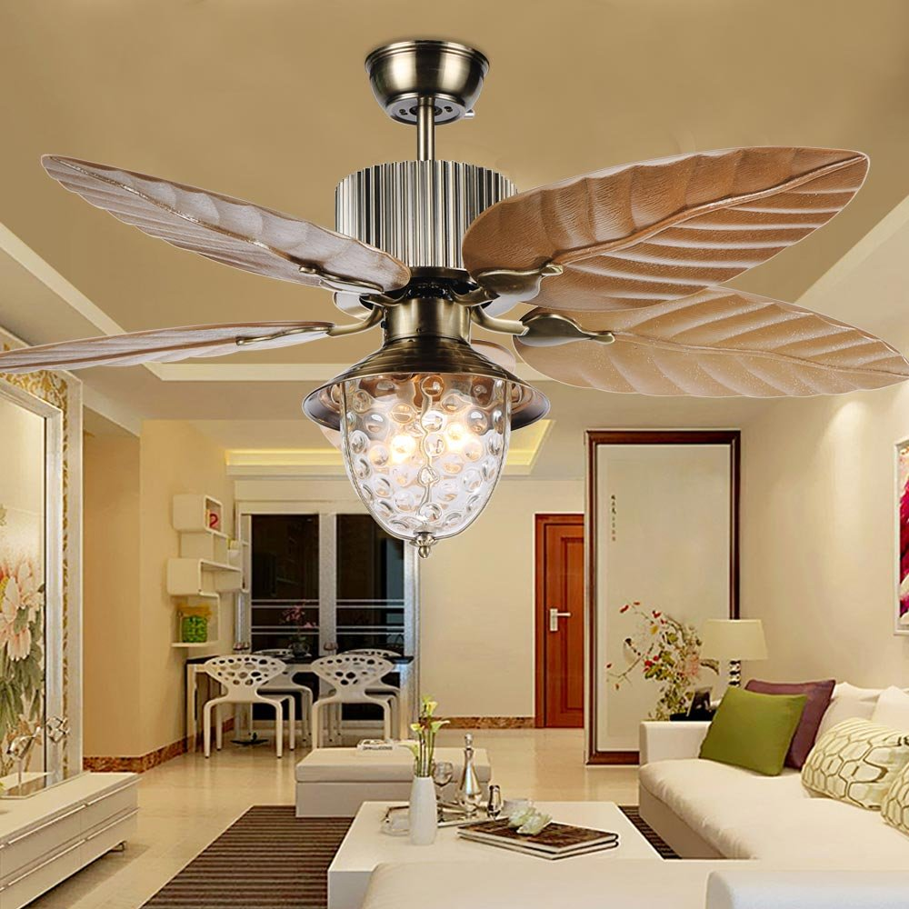 Tropicalfan Tropical Leaf Ceiling Fan With One Light Cover Indoor Home Dinner Room Living Room Quiet Windward Fans Chandelier 5 Plastic Reversible Blades 52 Inch Yellow by Tropical Fan (Image #8)