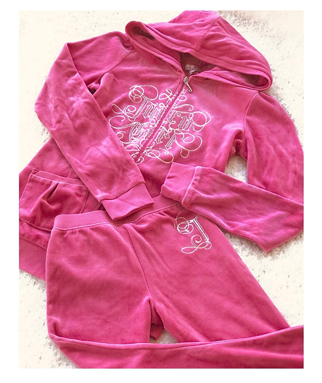 d5fb92b085 Amazon.com: Juicy Couture Girls Pink Velour Track Jacket and Pants ...
