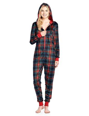 Ashford   Brooks Women s Mink Fleece Hooded One Piece Pajama Jumpsuit - Black  Stewart Plaid - d8279a636