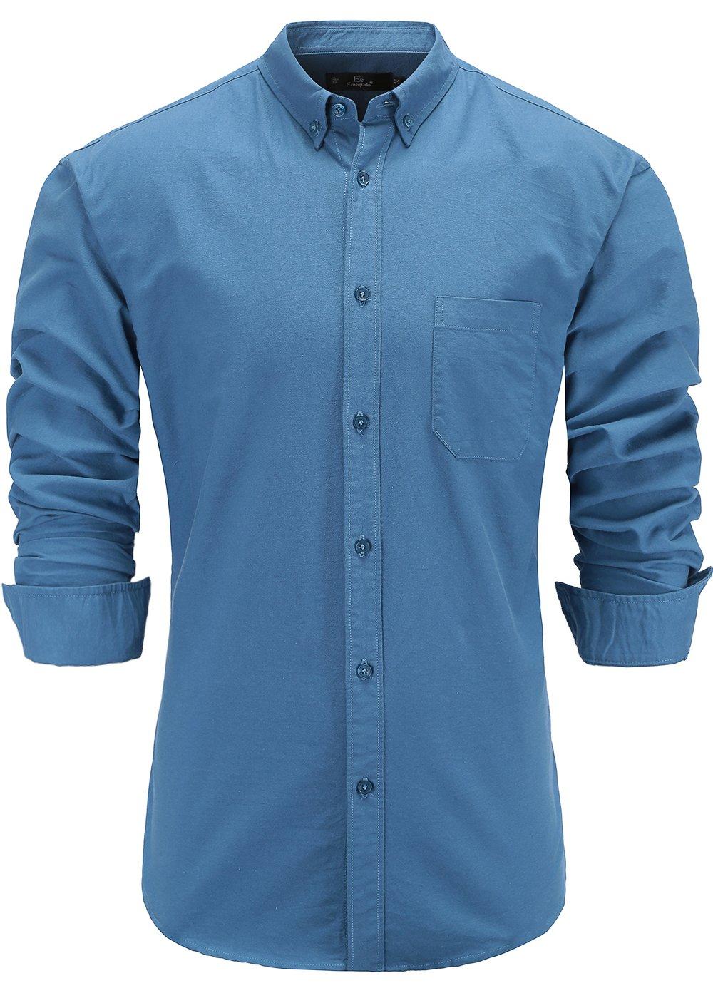 Emiqude Men's 100% Oxford Cotton Slim Fit Long Sleeve Button Down Solid Dress Shirt Medium Blue