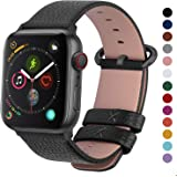 Fullmosa Compatible with Apple Watch Band 38mm 40mm 42mm 44mm, Yan Series Lichi Calf Leather Strap Band Compatible with iWatch Series 5 4 3 2 1, 42mm 44mm Black+Gunmetal Buckle