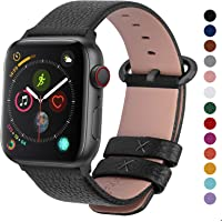 Fullmosa Compatible with Apple Watch Band 38mm 40mm 42mm 44mm, Yan Series Lichi Calf Leather Strap Band Compatible with iWatch Series 5 4 3 2 1, 38mm 40mm Black+Gunmetal Buckle