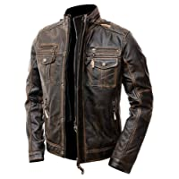 Mens Motorcycle Biker Vintage Distressed Brown Cafe Racer Real Leather Jacket