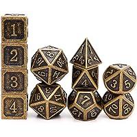 Haxtec 11PC Metal DND Dice Set D&D Extra D6 D20 for Dungeons and Dragons TTRPG Games-Antique Bronze 11PCS