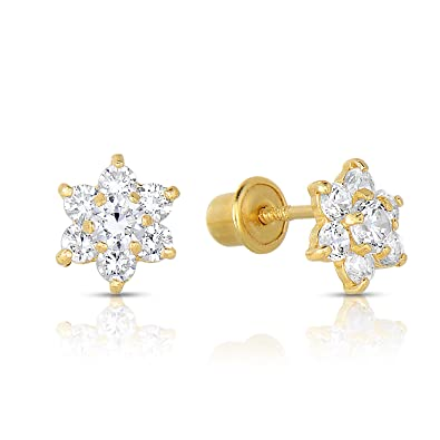 55032da68 14K Yellow Gold Tiny Flower Mini Halo Stud Earrings with Cubic Zirconia CZ  and Screw Backings