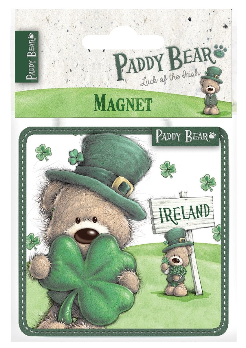 Paddy Bear Irish Designed Epoxy Magnet With Shamrock Design And Ireland Text Carrolls Irish Gifts