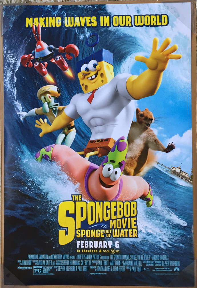 THE SPONGEBOB MOVIE SPONGE OUT OF WATER MOVIE POSTER 2 Sided ORIGINAL FINAL 27x40