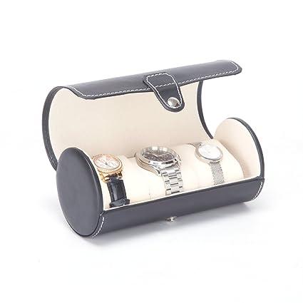 KingOfHearts™ De cuero caja de reloj del rodillo con tres soportes blandos pequeña almohada,