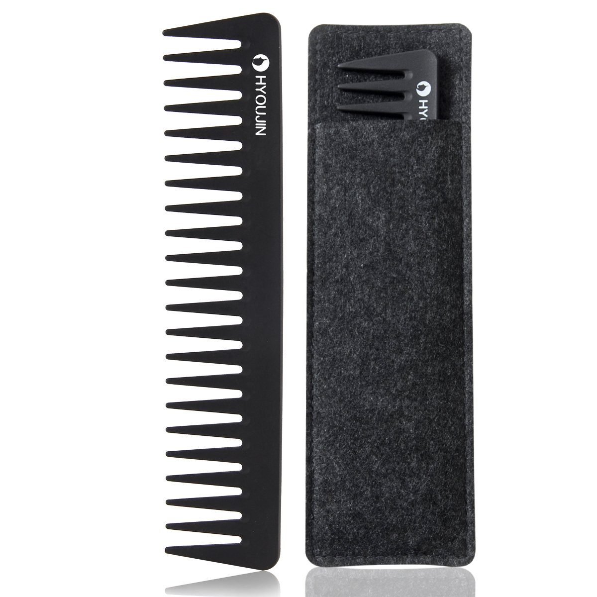 HYOUJIN608 Black Carbon Metal Pintail Teaser Comb, Rattail Lift Comb, Sharp Tail Comb with Non-skid Paddle-Perfect Lifting Fluffing-Incredibly Lightweight, Anti static, Heat Resistant DR