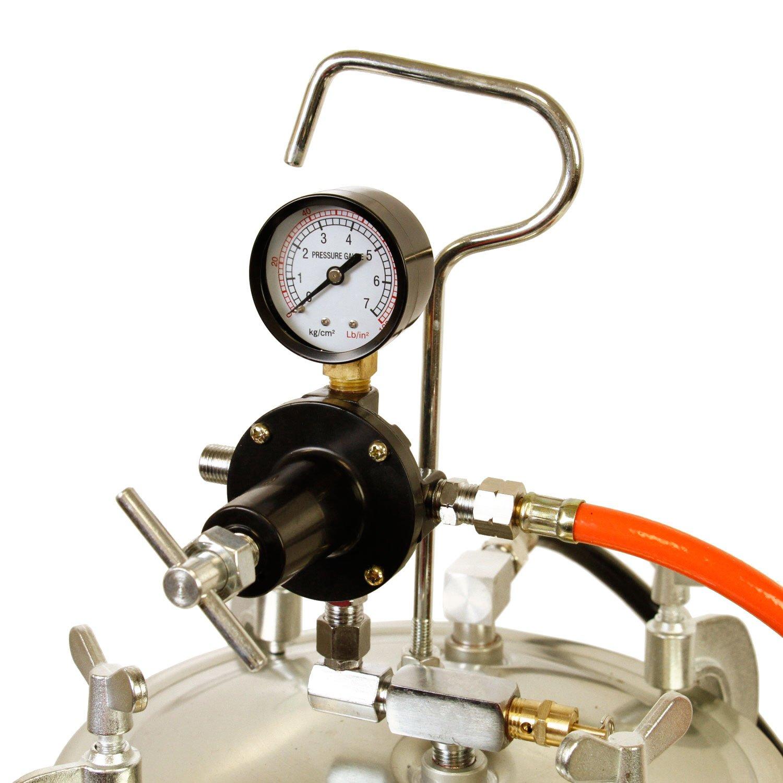 TCP Global Pressure Tank Paint Spray Gun with 1.5 Mm Nozzle 2-1/2 Gal. Pressure Pot & Spray Gun with Hoses by TCP Global (Image #4)
