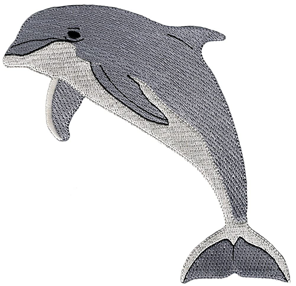 Bottlenose Dolphin Embroidered Patch Porpoise Iron-On Flipper Applique CYP-01787
