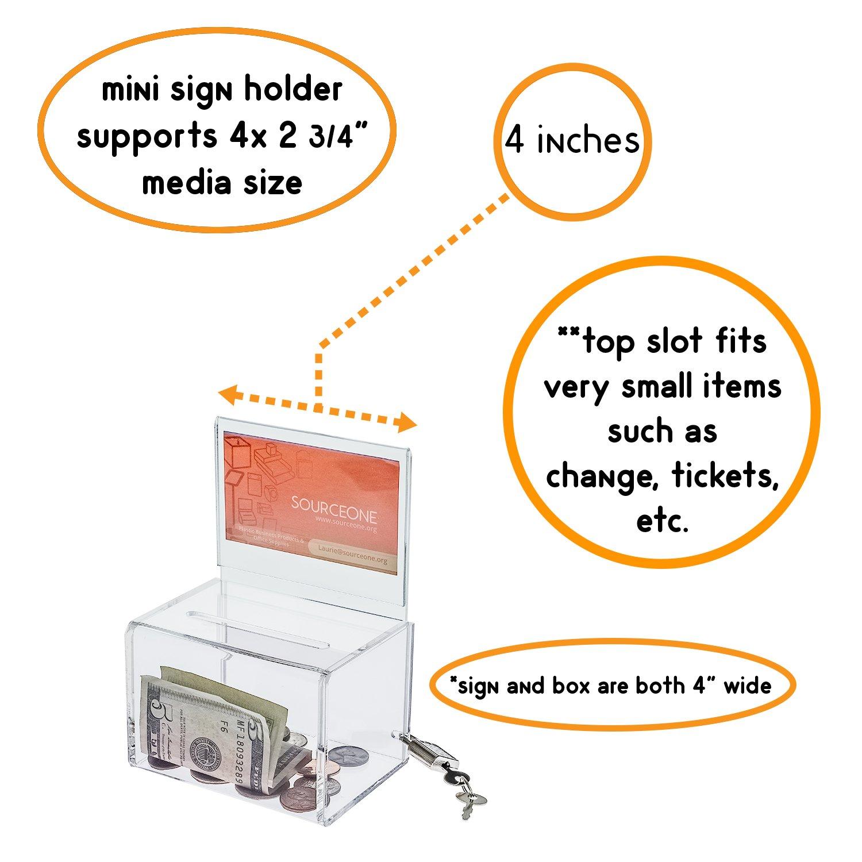 Fuente un pequeño ancho 12,7 cm de ancho pequeño Deluxe rectangular donación caja con cierre de AD de cuadro y libre 380d11