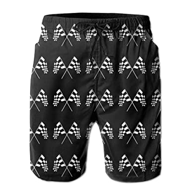 74e3e6f7847b7 UNIQUE Pants Racing Checkered Flag Men's Quick Dry Beach Board Shorts  Summer Swim Trunks for Father's