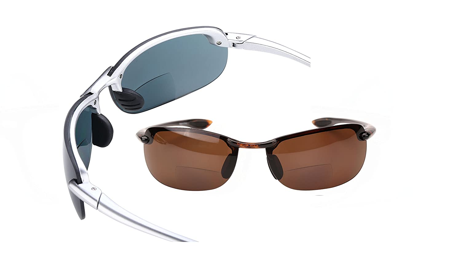 2 Pair of Dreamin Maui Polarized Bifocal Sunglasses - Sport Wrap Reading Sunglasses 1.5) 010MV-POL-BF