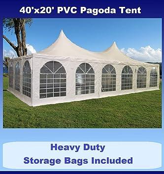 40u0027x20u0027 PVC Pagoda Tent - Heavy Duty Party Wedding Canopy Gazebo - with  sc 1 st  Amazon.com & Amazon.com : 40u0027x20u0027 PVC Pagoda Tent - Heavy Duty Party Wedding ...