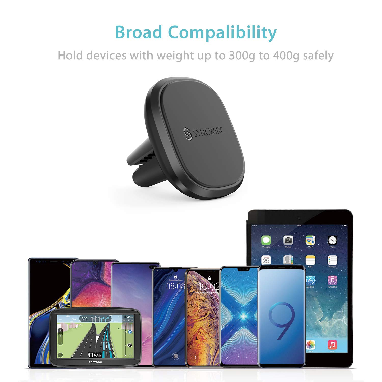 Samsung Galaxy S9//S8 Air Vent Cell Phone Holder Universal with 4 Extra Strong Magnets Syncwire Magnetic Phone Car Mount N48, 105mm Nexus and More LG Compatible with iPhone X//8//8 Plus//7//7 Plus