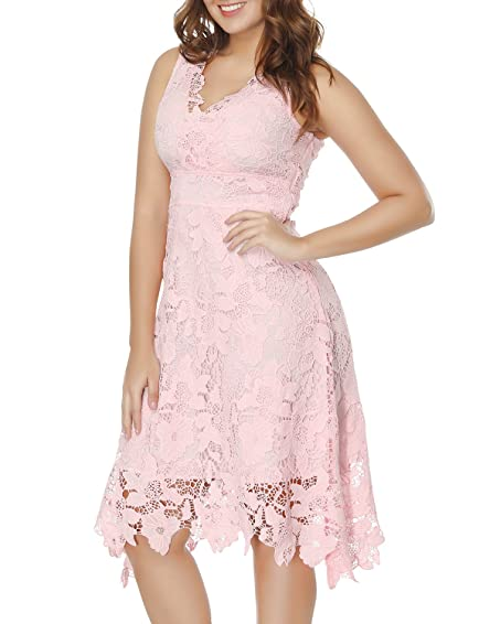 KIMILILY Womens Pink V Neck Elegant Floral Lace Prom Cocktail Dress ...