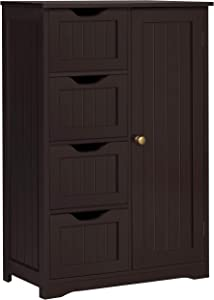 YAHEETECH Wooden Bathroom Floor Cabinet, Side Storage Organizer Cabinet with 4 Drawers and 1 Cupboard, Freestanding Entryway Storage Unit Console Table, Home Decor Furniture, Brown