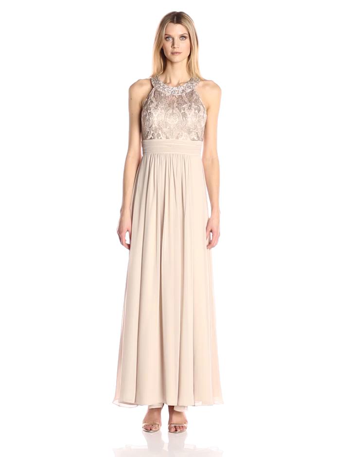 98a7c7464595 Eliza J Women's Lace Bodice with Chiffon Waistband and Skirt at Amazon  Women's Clothing store: